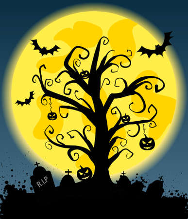 Halloween background with tree silhouette on full moon, jack olantern pumkins and bats Vector