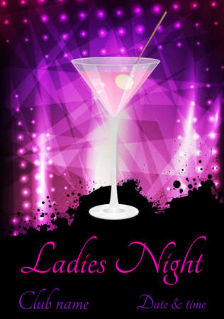 ladies: Ladies night or party poster template with glass of pink martini Illustration