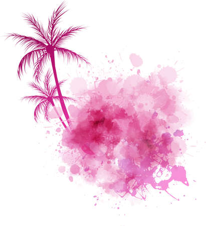 tree shape': Watercolor imitation splash with palm trees