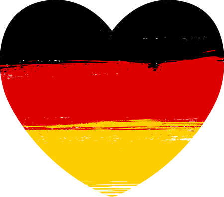tricolour: Grunge flag of Germany in heart shape Illustration
