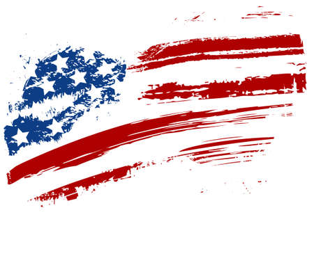 us grunge flag: Grunge American USA flag - splattered star and stripes