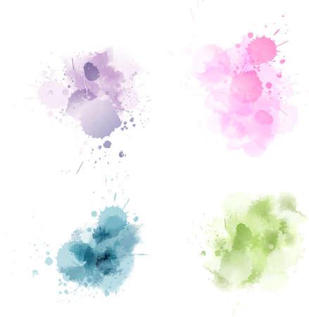 Set of multicolored vector watercolor blot splashes