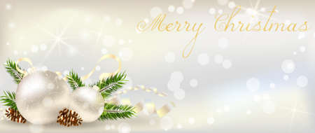 conifer: Christmas banner with decoration of conifer cone, ribbons and christmas tree branch