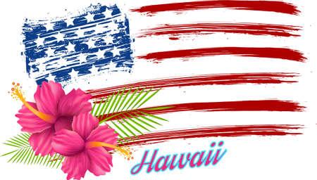hawaii flag: Hawaii flag - pink hibiscus flowers on grunge USA flag Illustration