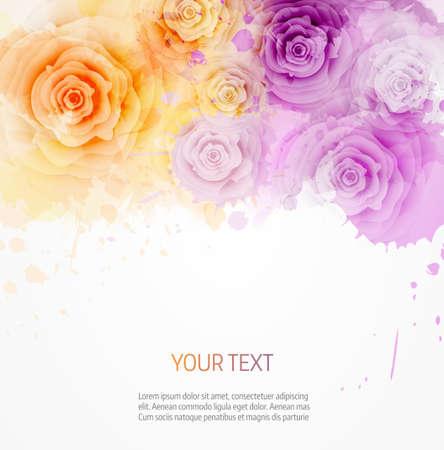 장미와 핑크와 블루 색상에서 추상 수채화 배경