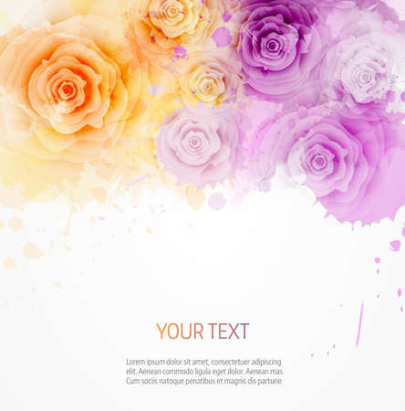 Abstract watercolor background in pink and blue colors with roses Ilustração