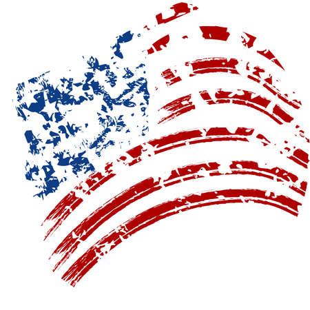 splattered: Grunge American USA flag - splattered star and stripes