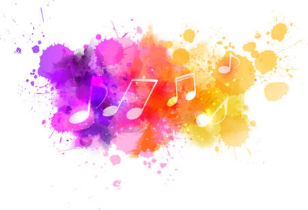 그린: Music notes on colorful abstract watercolored background