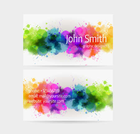 Business card template - front and back side. Watercolor painted line design. Çizim