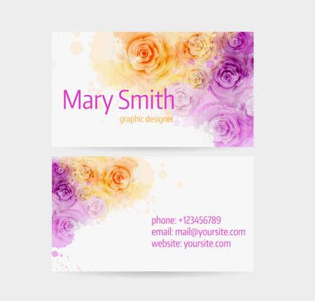 orange rose: Business card template - front and back side. Abstract floral roses design. Illustration