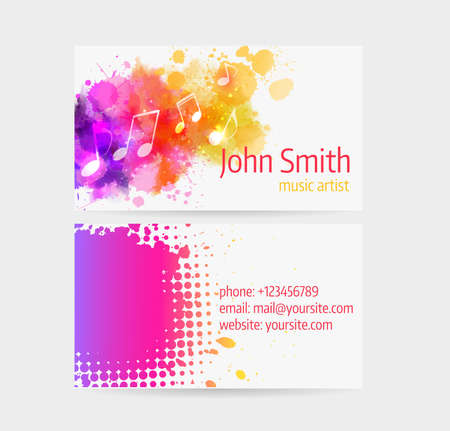 Business card template - front and back side. Abstract colored music design.