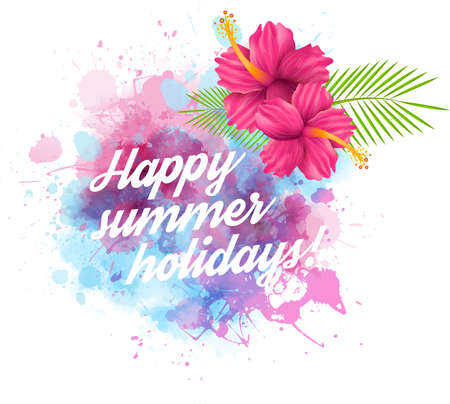 Summer design template with watercolored blot and hibiscus flowers