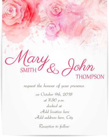 Modelo de la invitación de la boda con rosas abstractas sobre fondo de acuarela Foto de archivo - 38646943