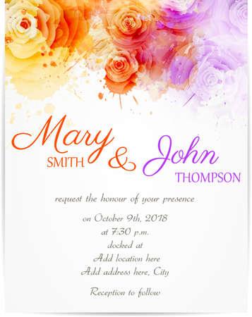 Modelo de la invitación de la boda con rosas abstractas sobre fondo de acuarela Foto de archivo - 38646945