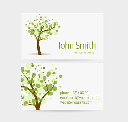Business card template - front and back side. Abstract tree design. Illustration