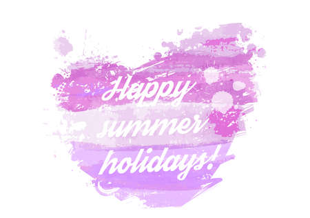 happy summer: Watercolored heart in purple colors - Happy summer holidays