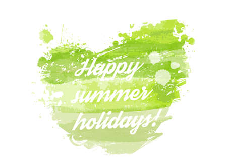 happy summer: Watercolored heart in green colors - Happy summer holidays