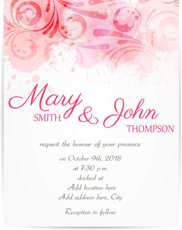 rose coloured: Wedding invitation template with abstract florals on watercolor background