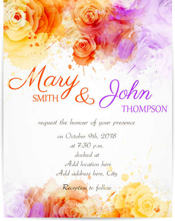 painted background: Wedding invitation template with abstract roses on watercolor background