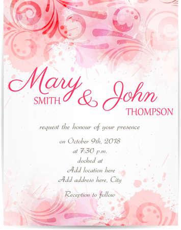 Bruiloft uitnodiging sjabloon met abstracte bloemmotieven op aquarel achtergrond