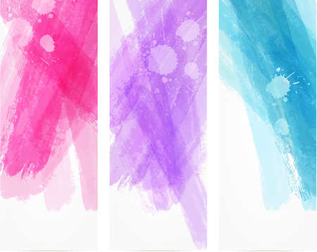 vertical banner: Banner vertical templates with watercolor imitation lines