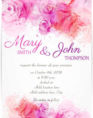 colored background: Wedding invitation template with abstract roses on watercolor background
