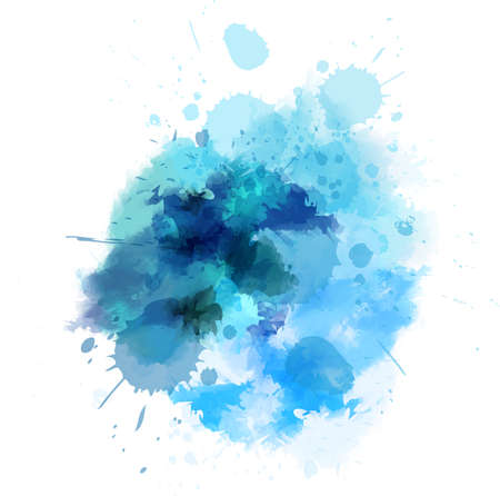 Watercolored splash vlek in blauwe kleur Stock Illustratie