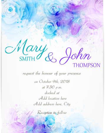 수채화 배경에 추상 florals 결혼식 초대장 템플릿