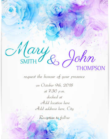 Wedding invitation template with abstract florals on watercolor background