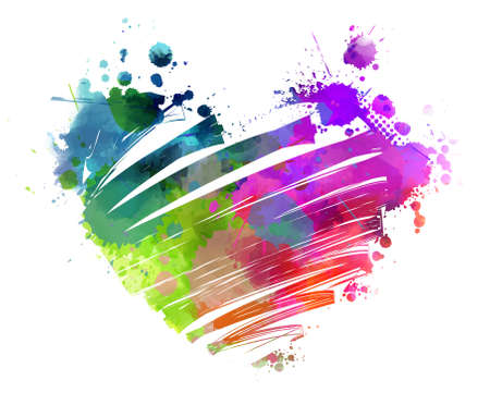 green paint: Grunge watercolored multicolored bright heart