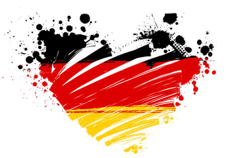 germany flag: Grunge flag of Germany in heart shape Illustration