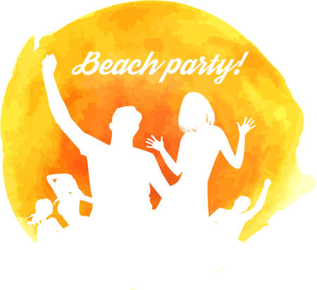 Orange grunge watercolored background with dancing people Vector