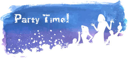 Blue and purple grunge watercolored background with dancing people Vector