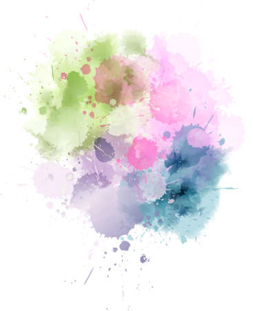Multicolored watercolor splash blot in light colors Ilustração