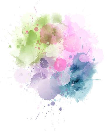 Multicolored watercolor splash blot in light colors Illustration