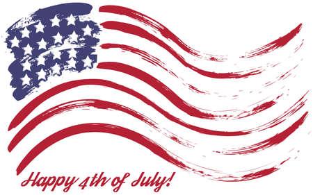 splattered: Grunge American USA flag  splattered star and stripes Illustration