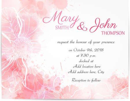 Wedding invitation template with abstract florals on watercolor background Stock fotó - 49807861