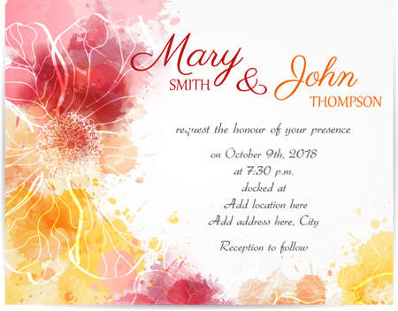 red design: Wedding invitation template with abstract florals on watercolor background