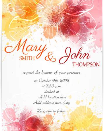 Modèle d'invitation de mariage avec des fleurs abstraites sur fond d'aquarelle Banque d'images - 49807870