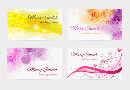 coloured background: Set of four business card templates for wedding planner
