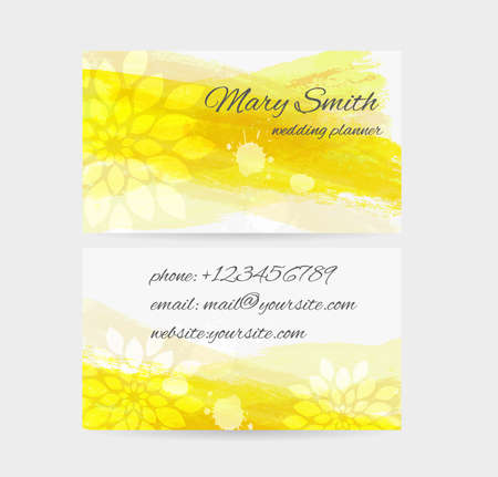 abstract business: Business card template - front and back side. Watercolored brushed with floral abstract design. Illustration