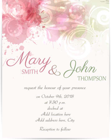 invitation background: Wedding invitation template with abstract florals on watercolor background