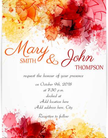 Modelo de la invitación de la boda con flores abstractas sobre fondo de acuarela Foto de archivo - 49807879
