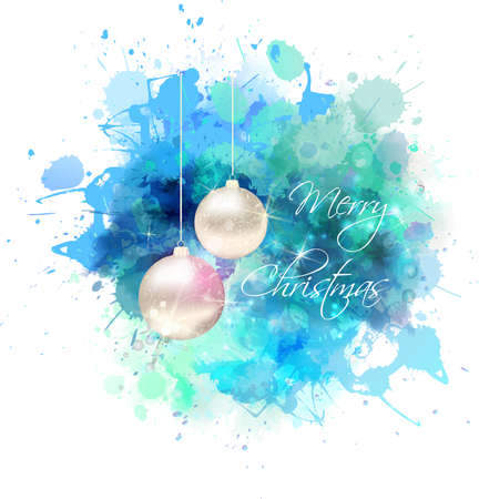 christmas star: Christmas blue watercolor background