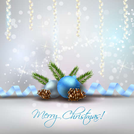 fir cone: Christmas shiny background with decoration, blue baubles and fir-cones