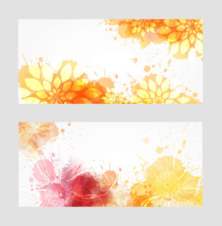 Two banners with abstract florals on watercolor splashes