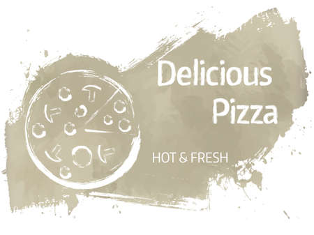 grunge banner: Pizza grunge advertisement banner in gray color