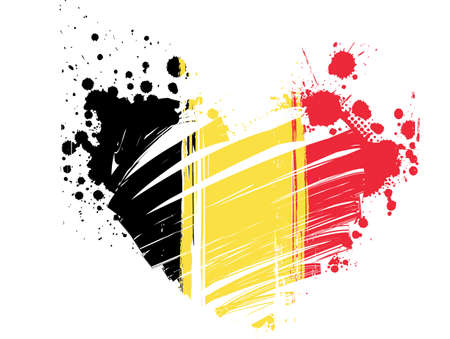 belgium flag: Belgium flag in grunge heart shape