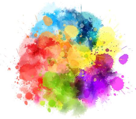Acuarela multicolor salpicaduras blot Ilustración de vector