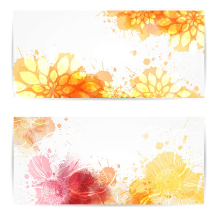 wet: Two banners with abstract florals on watercolor splashes